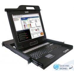 """Consola KVM Satra LCD 17"""", con Teclado y TouchPad 08 Puertos usb/ps2 Rackeable 1U ( 1501011708 )"""